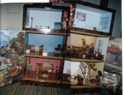 decoupage doll house with landscape on doors