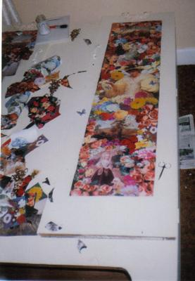pasting the decoupage images on the robe doors