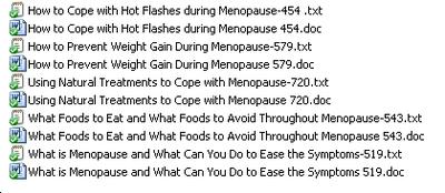 Titles of the 5 Menopause PLR articles