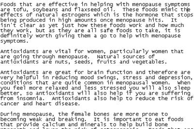 Sample of Menopause PLR article content