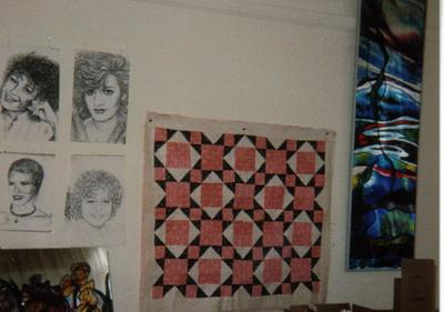 sketches of friends and art class projects, patchwork quilt and stained glass overlay mirror