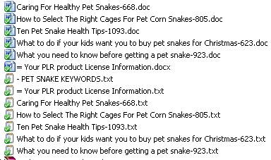 Titles of the 5 Pet Snake PLR articles