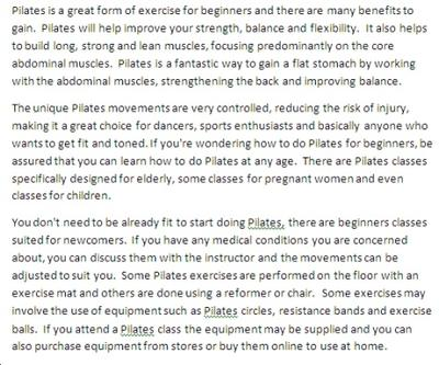 Sample of Pilates PLR article content