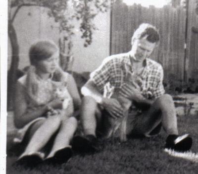 Helene with cat Dusty and kangaroo Guru and Dad #3