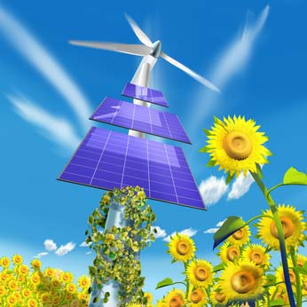 solar panels and wind power