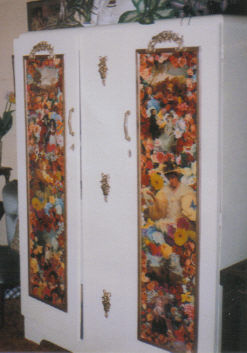 completed robe decoupage on doors