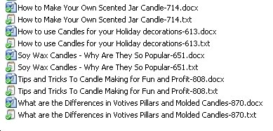 The Titles of the 5 candle making PLR articles in pack #3